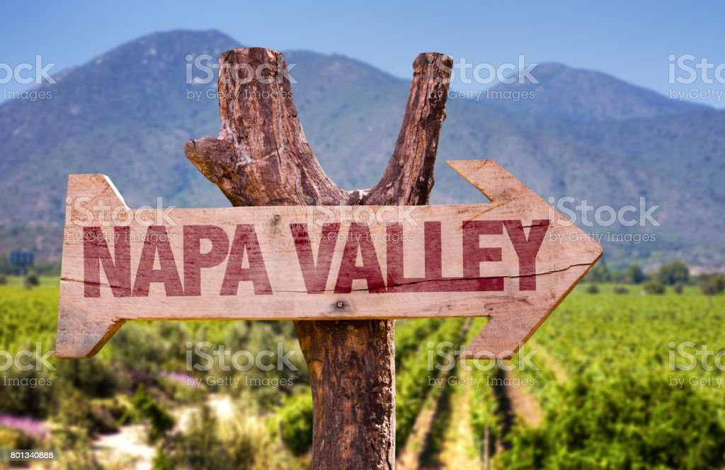 Napa Valley direction sign stock photo