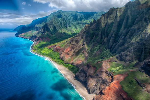 Na'Pali Coast Aerial stock photo