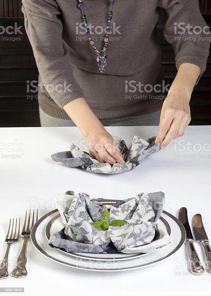 Napkin folding royalty-free stock photo