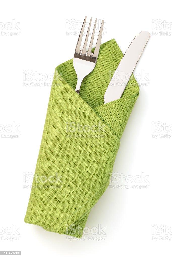 Serviette, Gabel und Messer, isoliert auf weiss - Lizenzfrei Serviette Stock-Foto