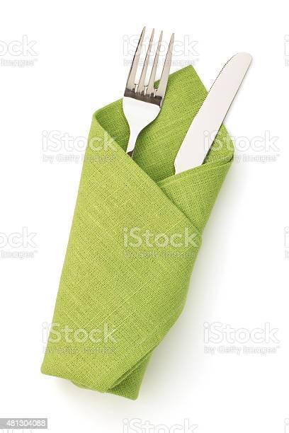 Serviette Gabel Und Messer Isoliert Auf Weiss Stockfoto und mehr Bilder von Serviette