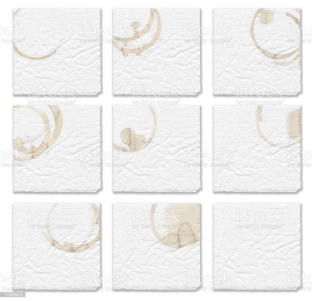 Napkin with Coffee Stains (off centered) stock photo