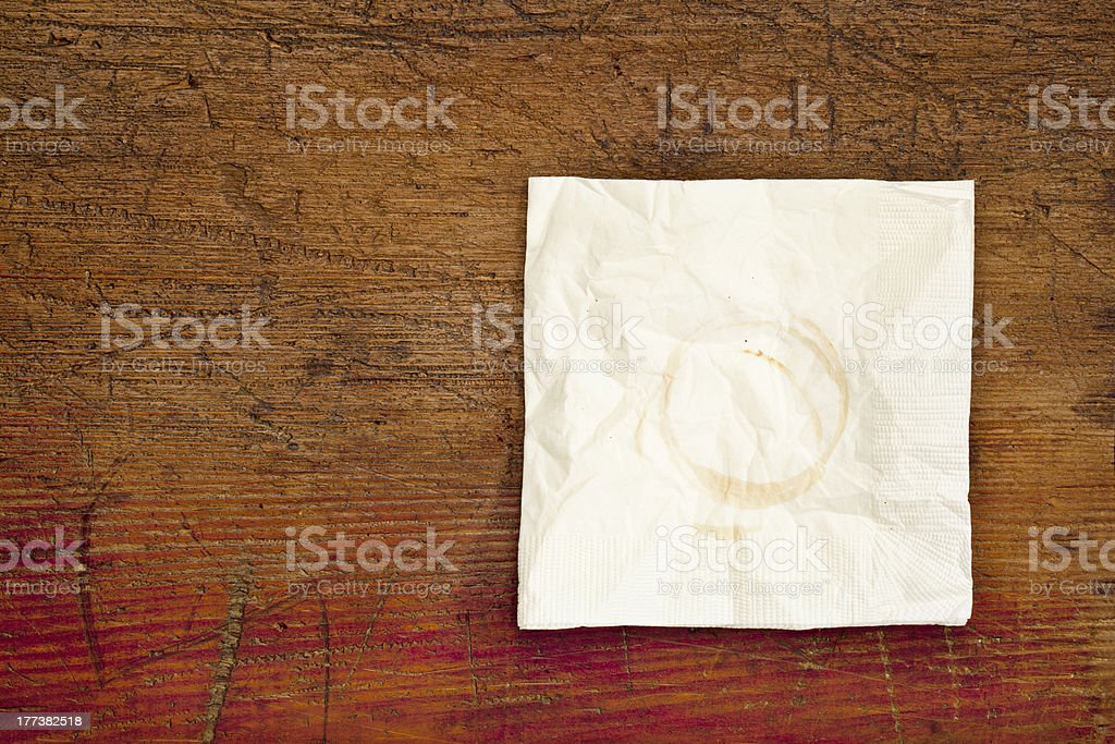 napkin with coffee stains royalty-free stock photo