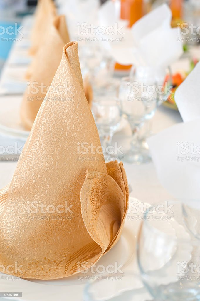 napkins on plates in perspective royalty-free stock photo