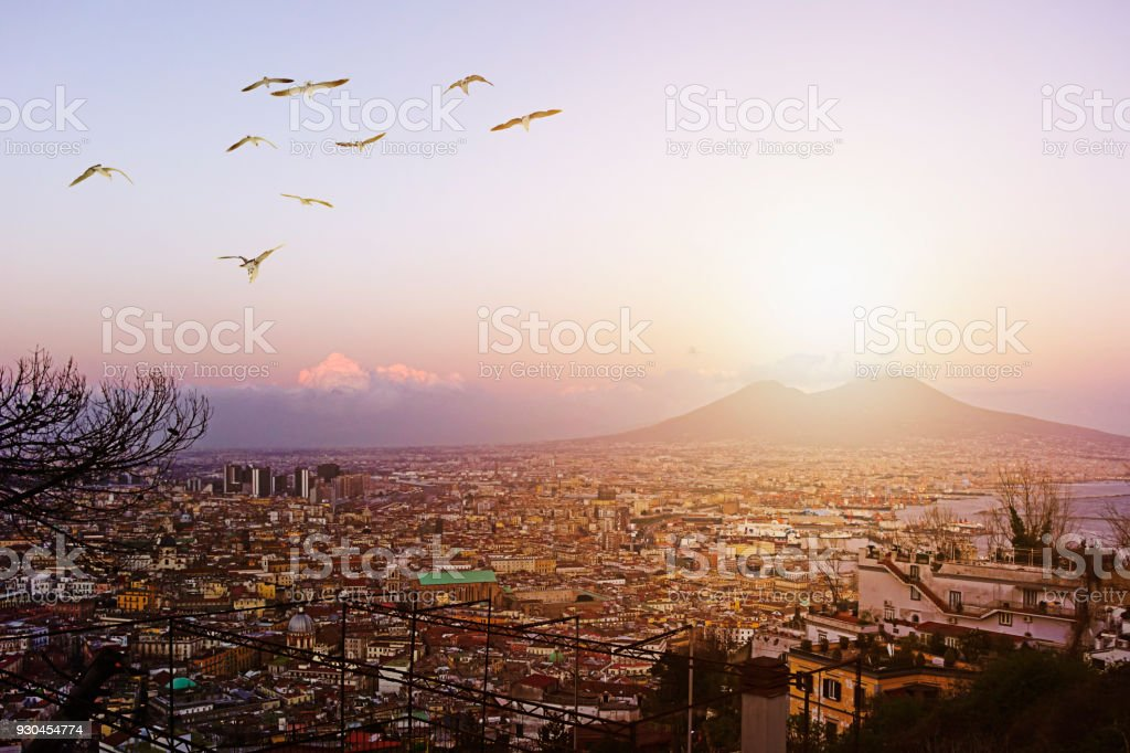Naples and the Vesuvius panorama - foto stock