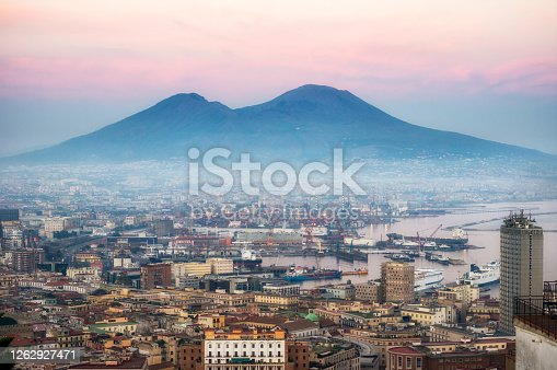 Naples and vesuvius at Dusk. Italy