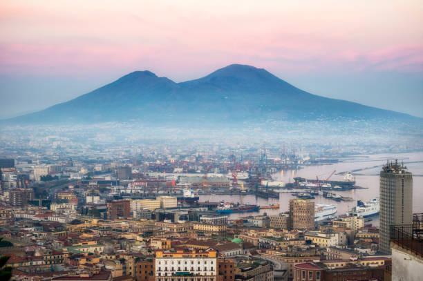 Naples and vesuvius at dusk. Italy stock photo