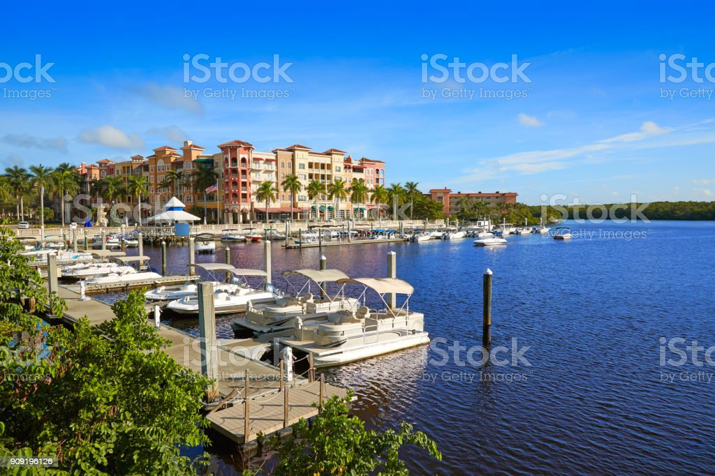 Naples Bay marina in florida USA stock photo