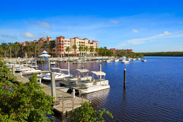 Naples Bay marina in florida USA Naples Bay marina in florida USA from Tamiami Trail naples florida stock pictures, royalty-free photos & images