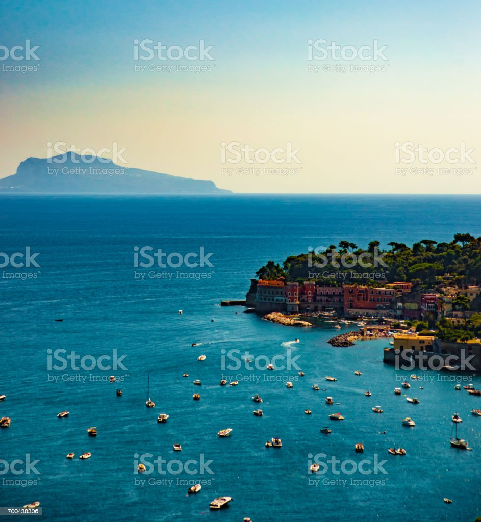 Naples bay scenic view, Italy stock photo