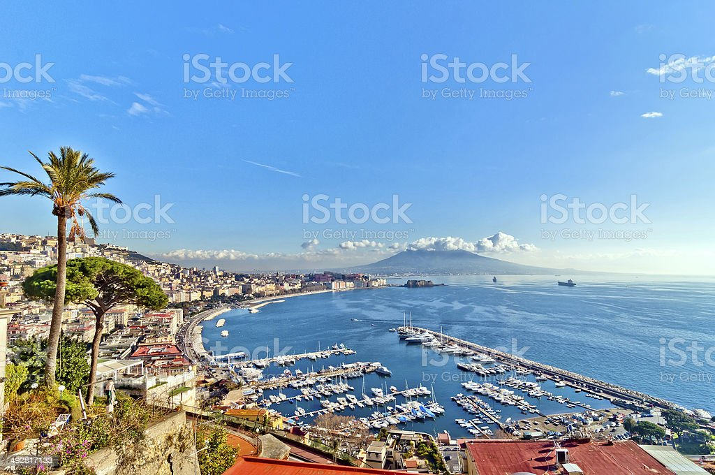 Naples bay view from Posillipo with Mediterranean sea - Italy stock photo