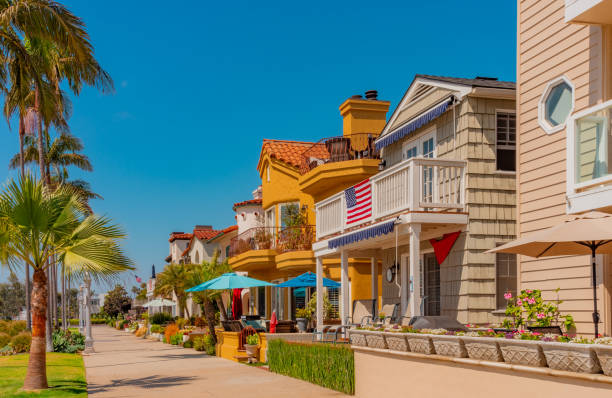 Naples beach houses close up in Long Beach, California (P) Long Beach beach house,  Naples - Long Beach, California, Naples Island, patio set, patio furniture, outdoors furniture long beach california stock pictures, royalty-free photos & images