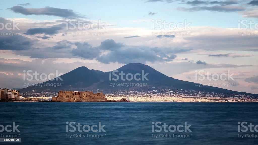 Naples, Castle dell'Ovo and Vesuvius stock photo