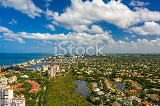 Naples coastal neighborhoods aerial drone photo