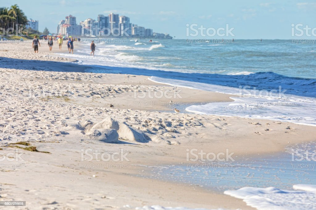 Naples Florida Beach with Gulf Shore in the Background stock photo