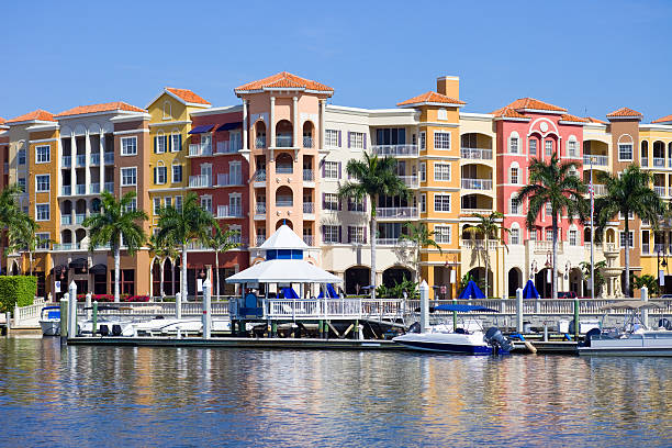 Naples, Florida, USA Colorful apartments and shops in downtown Naples, Florida, USA naples florida stock pictures, royalty-free photos & images