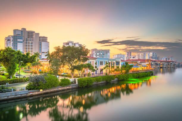 Naples, Florida, USA Skylinee Naples, Florida, USA downtown skyline at dusk. naples florida stock pictures, royalty-free photos & images