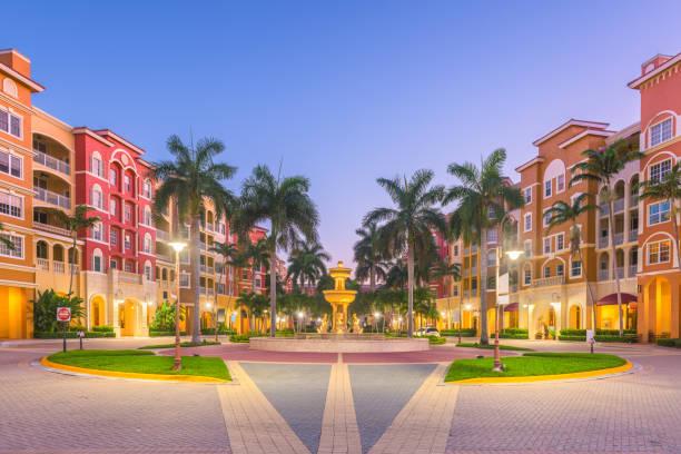 Naples, Florida, USA Town Skyline Naples, Florida, USA town skyline on the water at dawn. naples florida stock pictures, royalty-free photos & images