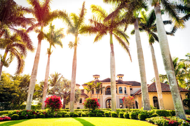 Naples, Florida with luxury mansion villa and row of palm trees on Nelson's walk street stock photo