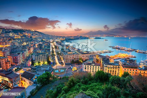 Aerial cityscape image of Naples, Campania, Italy during sunrise.