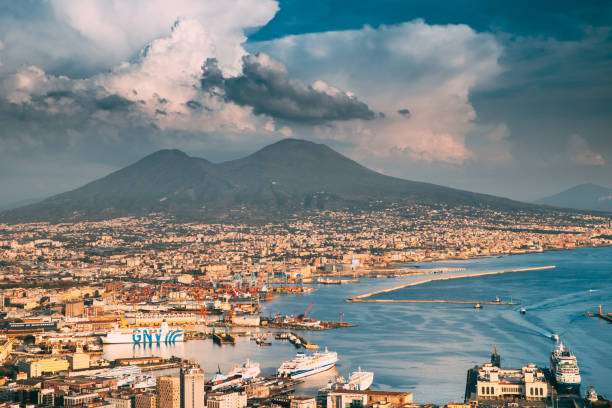 Naples, Italy. Top View Cityscape Skyline Of Naples With Mount Vesuvius And Gulf Of Naples In Background stock photo