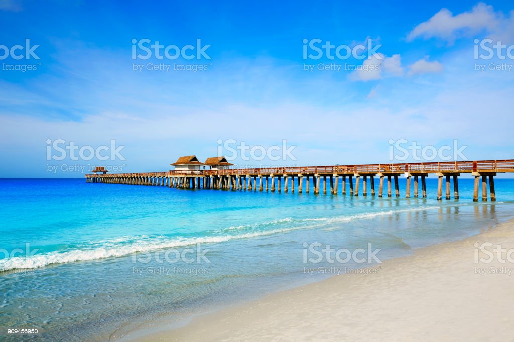 Naples Pier and beach in florida USA stock photo