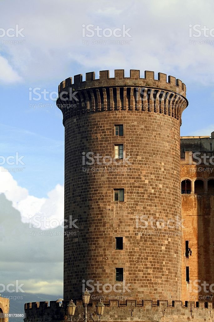 Naples. Tower of Maschio Angioino. stock photo