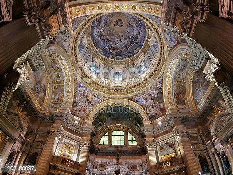 Naples, Campania, Italy - January 4, 2020: Baroque chapel of the Cathedral commissioned by the Neapolitans for a vote in San Gennaro