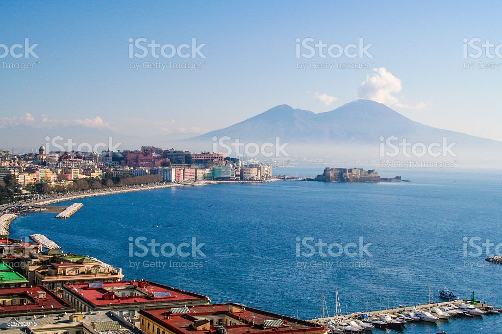 Naples, View From Posillipo with Vesuvius stock photo