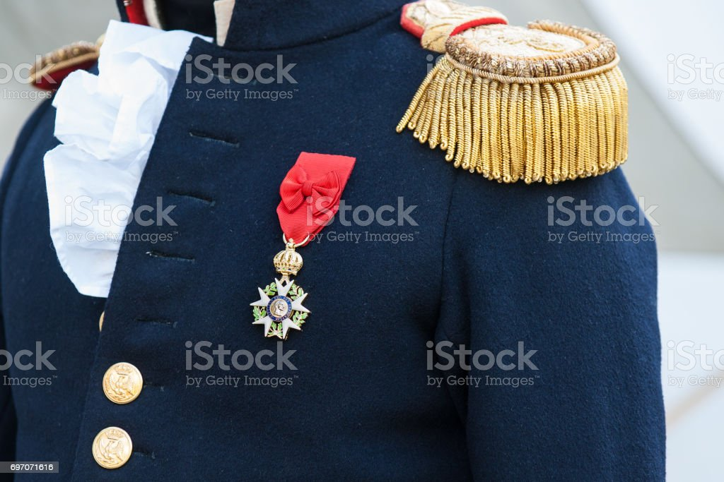 Napoleon army officer uniform stock photo