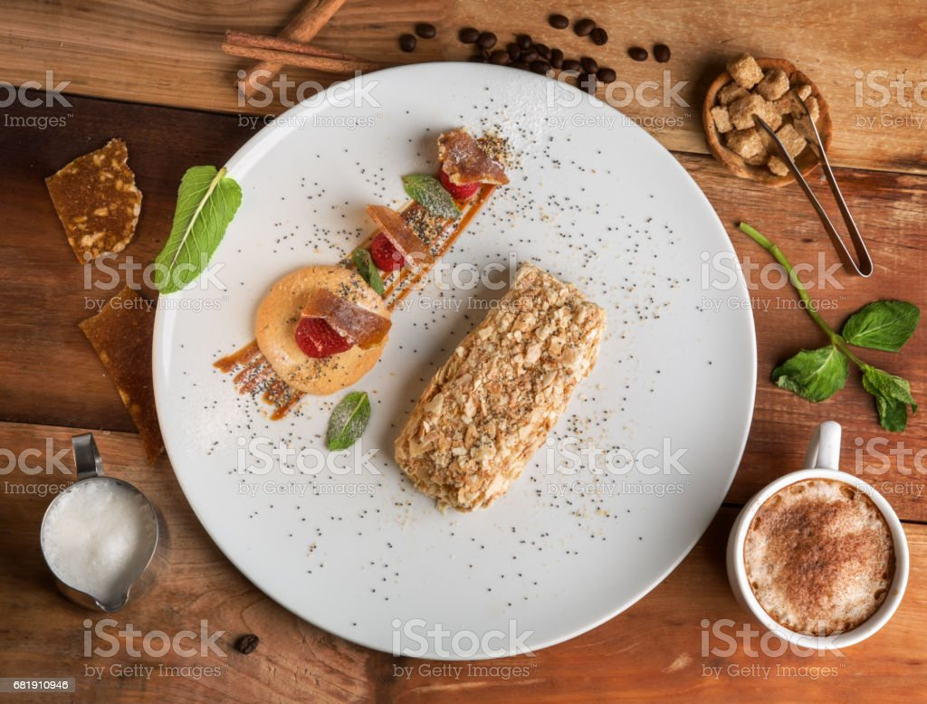 Napoleon cake stock photo