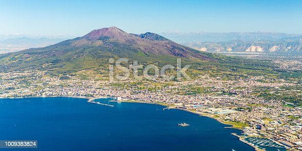 Napoli (Naples) and mount Vesuvius in the background at sunrise in a summer day, Italy, Campania
