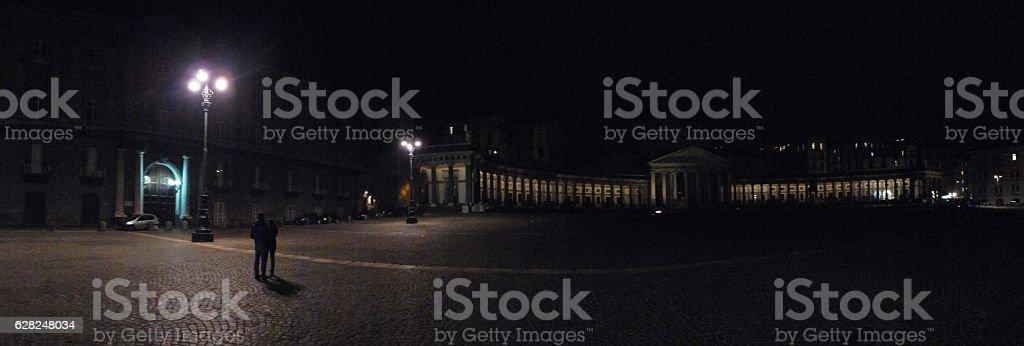 Napoli - Panoramica notturna di Piazza del Plebiscito stock photo