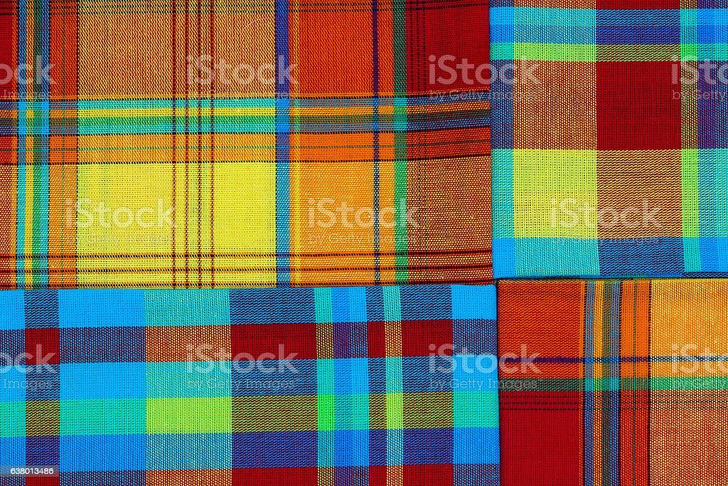 Nappes en madras pliées, tradition des iles antillaises stock photo