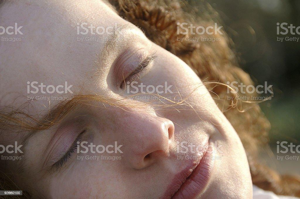 Napping lady royalty-free stock photo