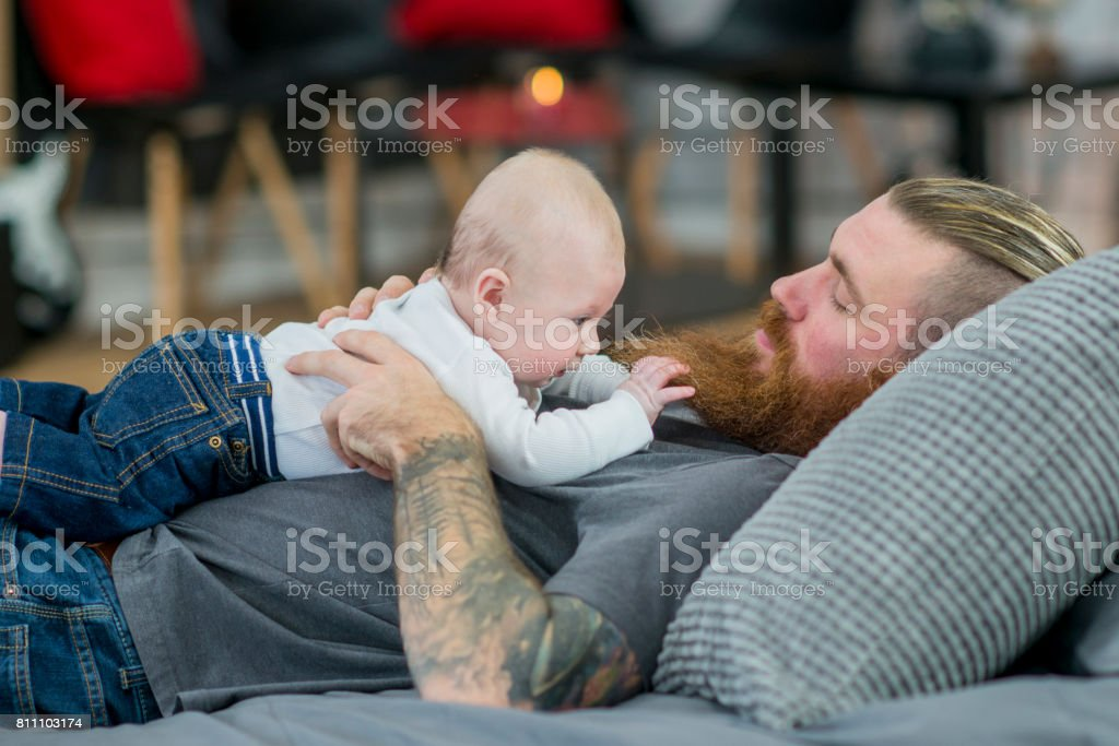 Napping With Baby stock photo