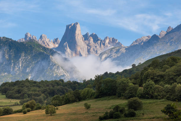 Naranjo de Bulnes, known as Picu Urriellu, from Pozo de la Oracion lookout point, Asturias in Spain stock photo