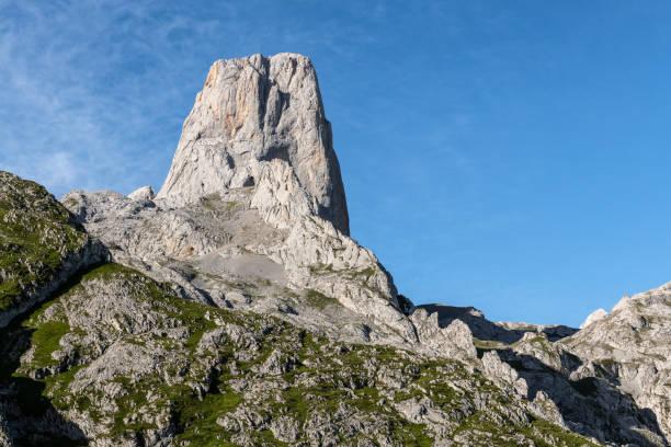 Naranjo de Bulnes, known as Picu Urriellu, in Picos de Europa National Park, Asturias in Spain stock photo