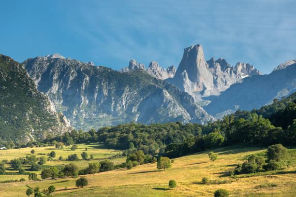 Naranjo de Bulnes or Picu Urriellu from Pozo de la Oracion lookout point in Picos de Europa National Park, Asturias in Spain stock photo