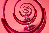 istock Narcissism and narcissistic personality disorder concept theme with a droste effect on a pink mirror creating a vortex representing the physiological disease spinning out of control 1141353225