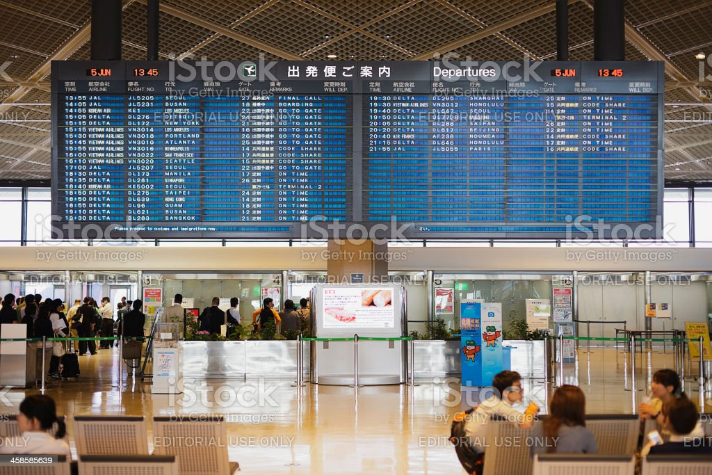 Narita Airport Departure Board royalty-free stock photo