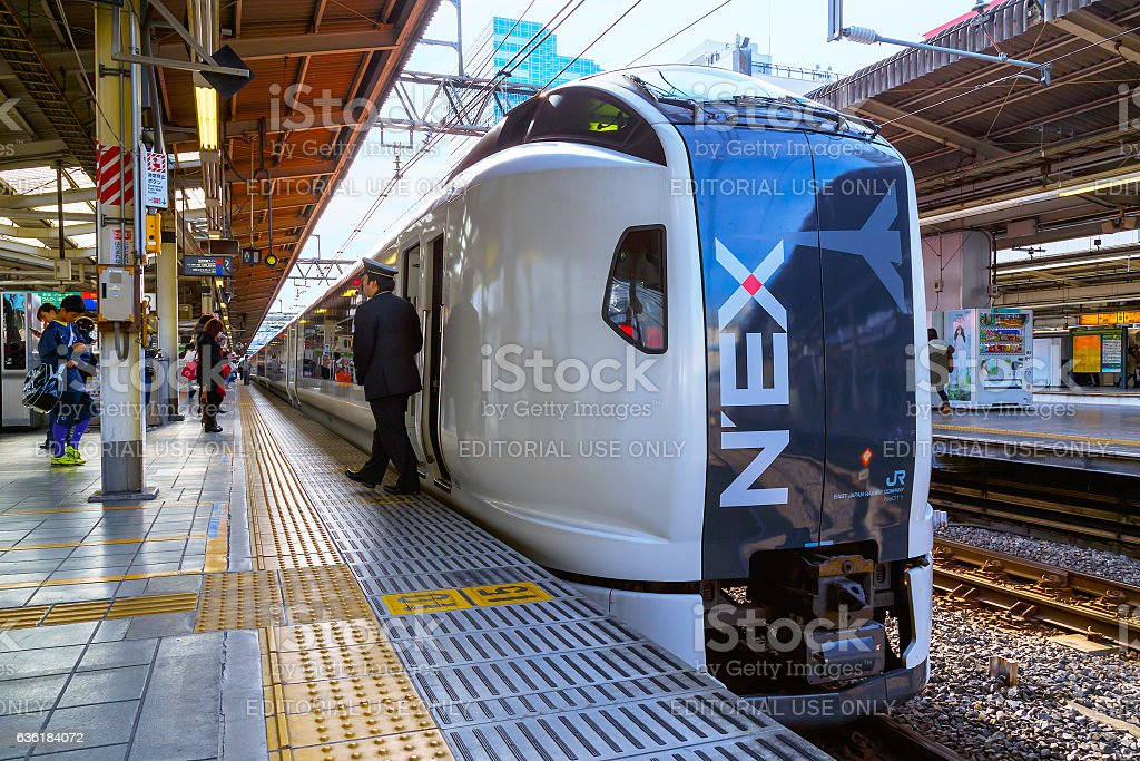 Narita Express at Ikebukuro Station in Tokyo stock photo