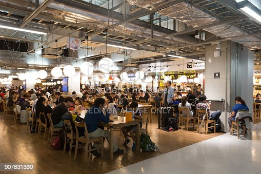 Narita, Japan - August 26, 2015 : People at the food court in Narita International Airport Terminal 3 in Japan. The food court, which is the largest at any airport in Japan.