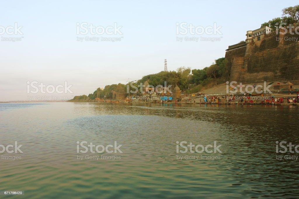 Narmada Ghats in Maheshwar, India stock photo