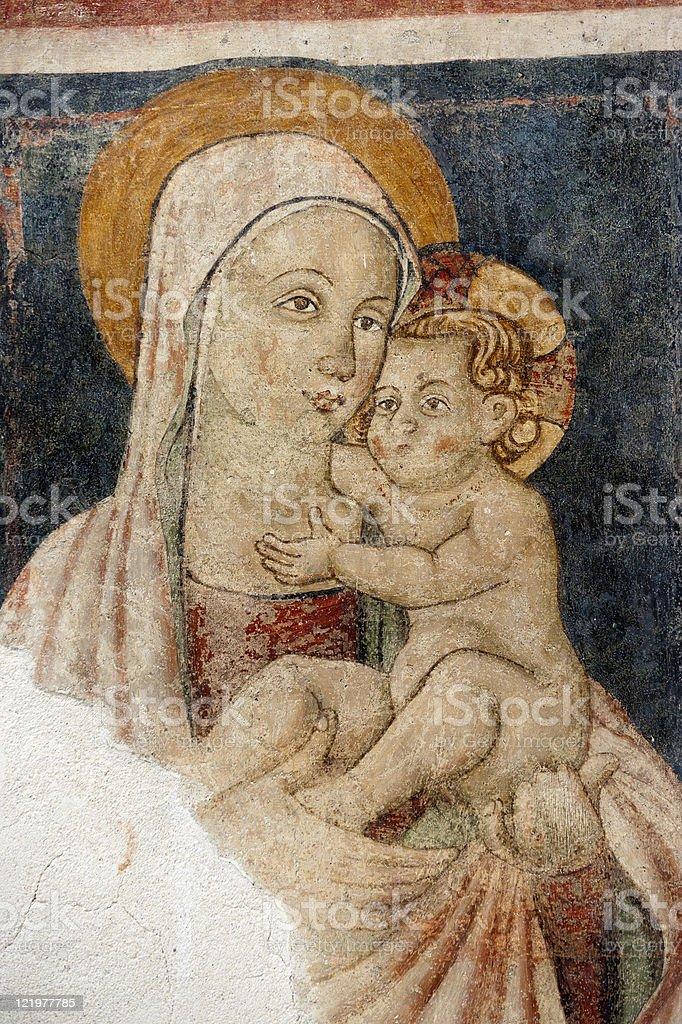 Narni (Italy): Virgin Mary and Child, fresco in a church royalty-free stock photo