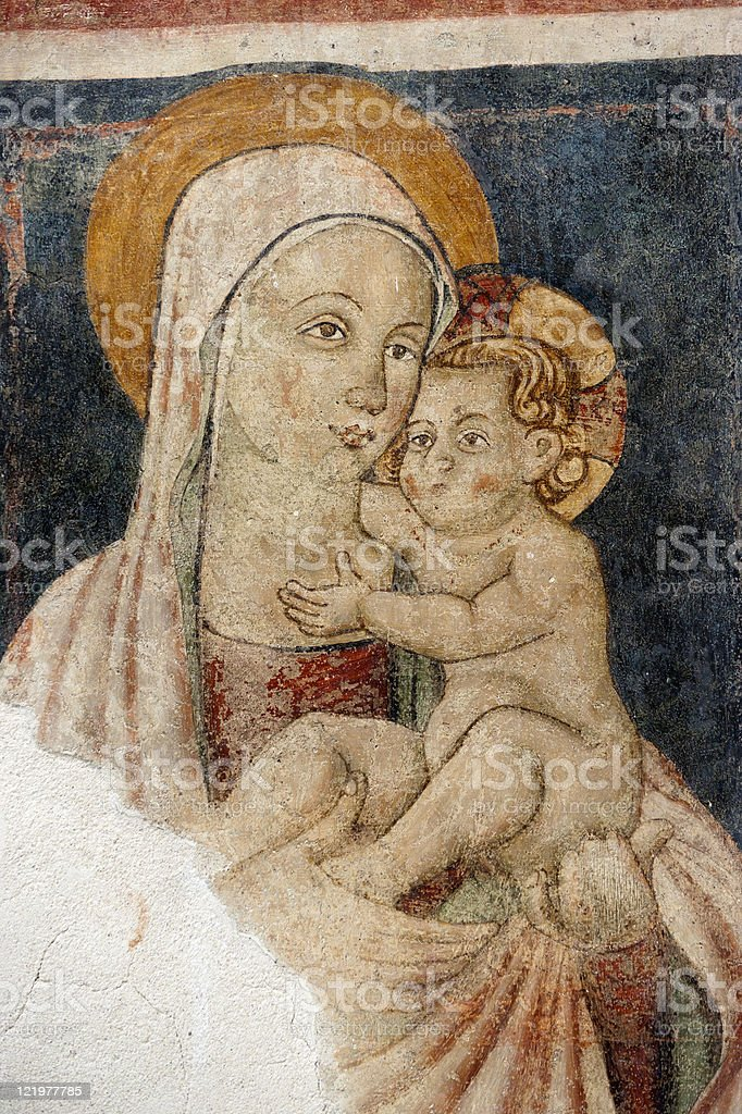 Narni (Italy): Virgin Mary and Child, fresco in a church stock photo
