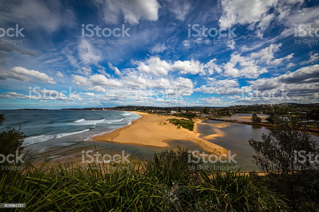 Narrabeen Beach Lake Inlet stock photo