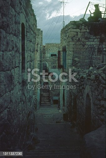 Greater Jerusalem, Israel, 1976. Narrow alley in an Arab quarter.