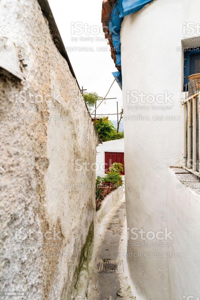 Narrow alley in Anafiotika in Athens, Greece stock photo