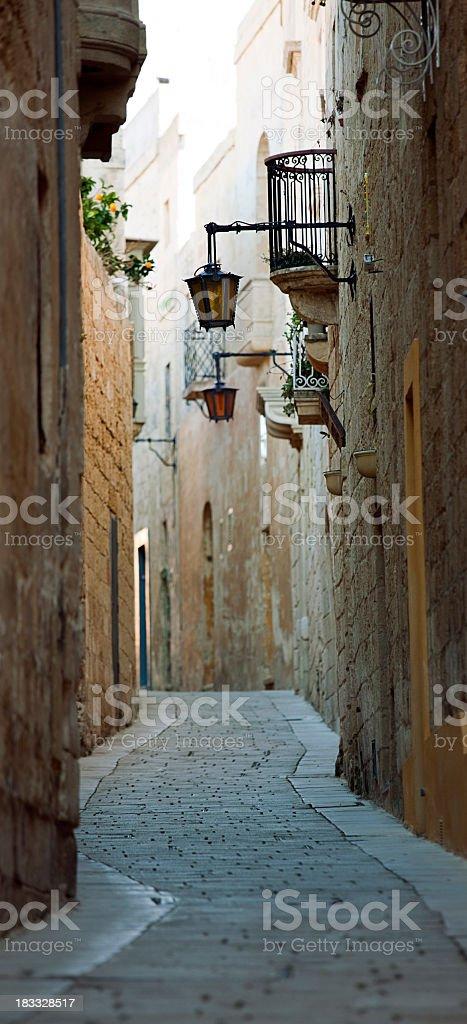 Narrow alley in Mdina royalty-free stock photo